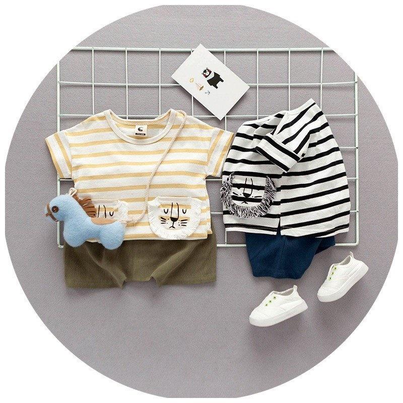 8b2d1b413a5212 セットアップ 半袖Tシャツ ボーダーTシャツ ショートパンツ ショーパン 半ズボン 夏 子供服 ベビー服 ベビーウェア 男の子 女の子 男女兼用 上下