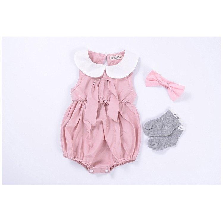dd963b1b2c88c ロンパース ロンパス 夏 おしゃれ 女の子 赤ちゃん ベビー ノースリーブ 無地 襟 つなぎ 可愛い かわいい リボン