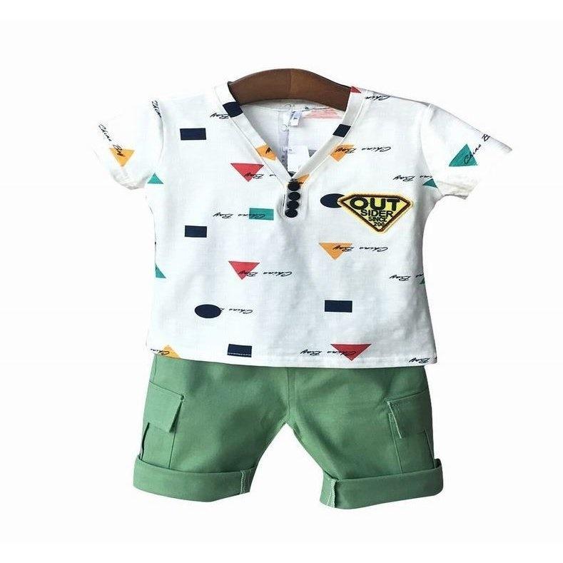 c793696a29b2d キッズ ベビー 男の子 女の子 ボーイズ ガールズ ボタン セットアップ レッドグリーン ハーフパンツ 半袖 Tシャツ シャツ 三角 四角 丸  Vネッ  ¥ 1